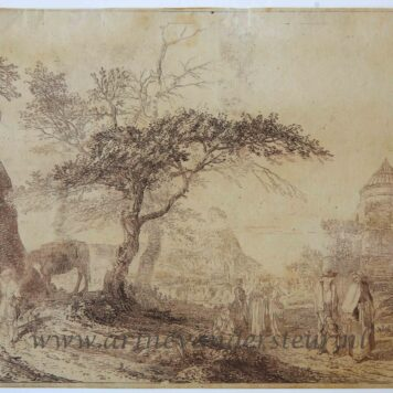 [Original etching] Landscape near Edinburgh [set of small horizontal Scottish view