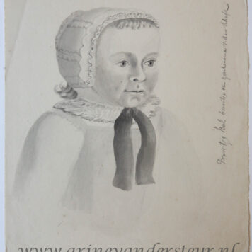 Portrait of a baby with a bonnet.
