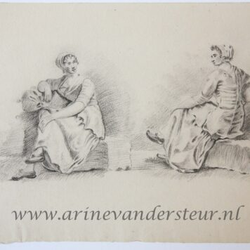 [Original drawing] Seated peasant woman (zittende boerin), ca 1850-1900.