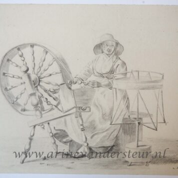 [Original drawing] Woman at a spindle (vrouw bij spinnewiel), ca 1850-1900.