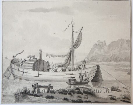 [Original drawing] Boat on a river (boot op rivier), ca 1800-1850.