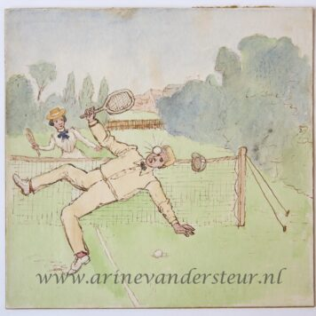 [Original drawing] Tennis (accident), ongeluk bij tennisspel, ca -1950.