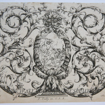 [Antique ornament print, etching] Poilly, Duceurceau, Ornament print with Hercules and Hydra, published 17th century.
