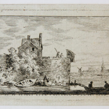 [Miniature antique print, etching] Salvator Legros, after A. v. Everdingen, River Landscape, published ca. 1788.