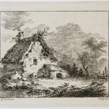 [Miniature antique print, etching] Salvator Legros, after Pillement, Farm house, published ca. 1788.