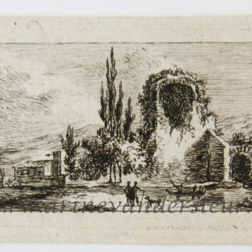 [Miniature antique print, etching] Salvator Legros, after Moreau, Landscape with ruins, published ca. 1788.