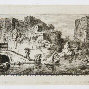 [Miniature antique print, etching] Salvator Legros, after Weirotter, River landscape with ruined buildings on the left, published 1788.