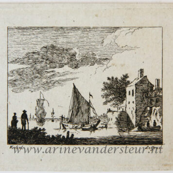 [Miniature antique print, etching] Salvator Legros, after H. Köbel, River landscape, published ca. 1788.
