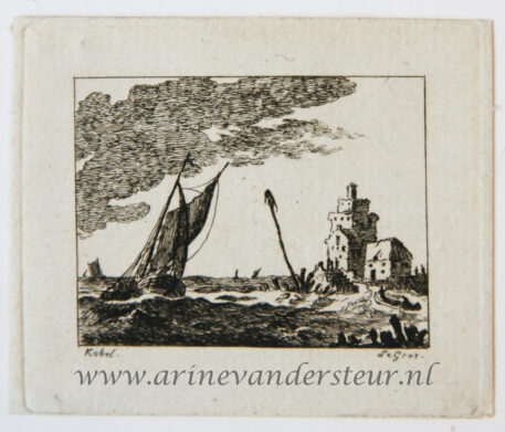 [Miniature antique print, etching] Salvator Legros, after H. Köbel, Seascape, published ca. 1788.