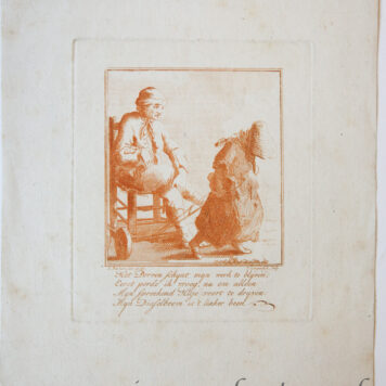 [Antique print in red ink, engraving] P. Langendijk after P. Barbiers I, A disabled man, published ca. 1750.