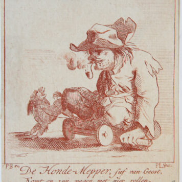 [Antique print in red ink, engraving] P. Langendijk after P. Barbiers I, A disabled man with a dog, published ca. 1750.