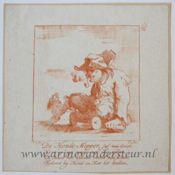 [Satirical antique print in red ink, engraving] P. Langendijk after P. Barbiers I, A disabled man with a dog, published ca. 1750.