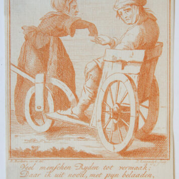 [Antique print in red ink, engraving] P. Langendijk after P. Barbiers I, A disabled man begging on the street, published ca. 1750.