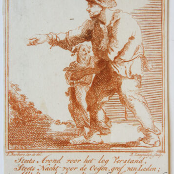 [Satirical antique print in red ink, engraving] P. Langendijk after P. Barbiers I, A man with a child begging on the street, published ca. 1750.