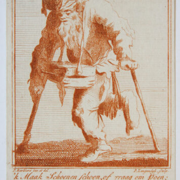 [Satirical antique print in red ink, engraving] P. Langendijk after P. Barbiers I, A disabled man on crutches [shoeshiner], published ca. 1750.