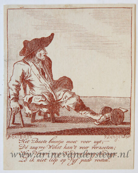[Satirical antique print in red ink, engraving] P. Langendijk after P. Barbiers I, A disabled man seated on a small stool, published ca. 1750.