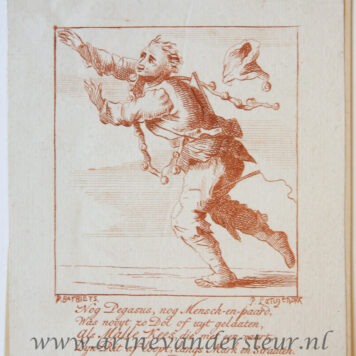 [Satirical antique print in red ink, engraving] P. Langendijk after P. Barbiers I, A jester, published ca. 1750.