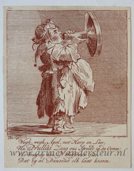 [Satirical antique print in red ink, engraving] P. Langendijk after P. Barbiers I, A woman with bullhorn [Prullas], published ca. 1750.
