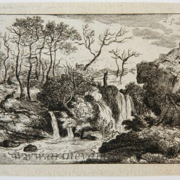 Original etching/ets: Landscape with waterfalls, ca 1788.