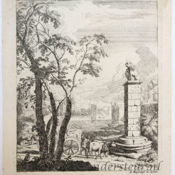 Original etching and engraving: Landscape with a cart and a monument