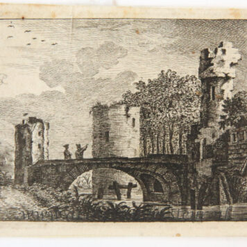 Original etching: Small view on a frozen canal