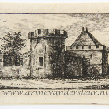 Original etching: View on a landscape with a fortified building