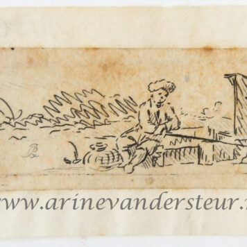 Original etching: Fisherman fishing