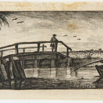 Original etching: View on a canal with a wooden bridge