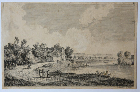 [Original etching, ets] N. Perignon. River landscape, published before 1800.