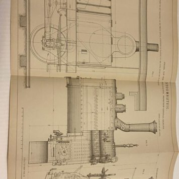 Old blueprint of a steam locomotive/Bouwtekening Stoomlocomotief.