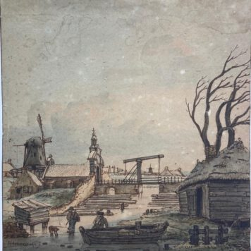 Lamberts, Gerrit (?) (1776-1850), after Hendrick Avercamp (1585-1634) Winter landscape outside the Veenepoort in Kampen,