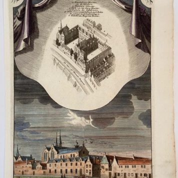 Hand coloured copperplate engraving published circa 1765 and engraved by Jan Goeree (1670-1730) on laid paper with distinct watermark. From: Jan Goeree – Het Oude Stadhuis en de naaste Gebouwen, zo als zy waren in 't jaar 1544 – Amsterdam, Isaak Tirion, 1765.