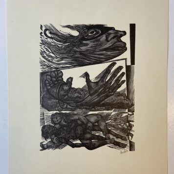 [Original wood engraving] Face, hands, lovers.