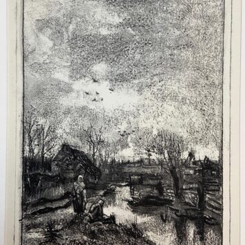 [Lithograph/litografie] Two farmers by the river/twee boeren bij een rivier.