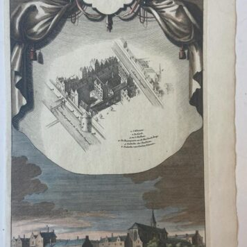 [Handcolored copperplate engraving] 't Urselen Klooster. in 1596. tot 't Spinhuis herbouwt, ca 1720.