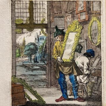 Antique print/originele prent: De Spiegelmaaker/The Mirror-Maker.