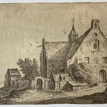 [Landscape print, etching] Village church on the bank of a river [set: Landscapes, eleven plates]. (Dorpskerk aan de oever van een rivier).