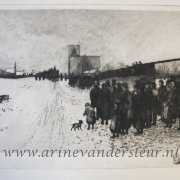 CARLYLE, ROBERT ALLAN--- Funeral of Thomas Carlyle in Ecclefechan (Scotland), etching, 1881, by Robert Allan, 30x52 cm.