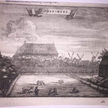 [Antique print, etching] Pest-Huys (Het Pesthuis in Amsterdam), published ca. 1726.