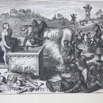 [Original engraving, gravure] J. van Meurs [?] The Island of Sacrifice, published 1670-1671.