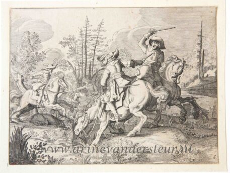 """Two horsemen fighting. In the background more fighting riders and on the ground a wounded horse. In respect to the original, this impression is filled with a wooded landscape and with a cloudy sky. Numbered on the bottom right with nr """"6."""" Rare."""