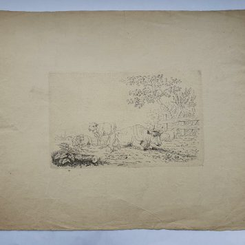 Print. P. Roosing after J. A. Bakker (1796-1876). Cattle in a meadow.