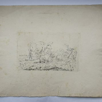 Print. P. Roosing after J. Kobell II. Cow and sheep a meadow. Wide margins
