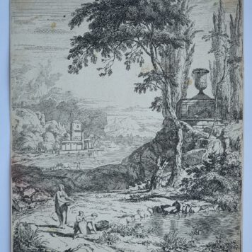 Print. A. Meyering. Italian landscape by the water.
