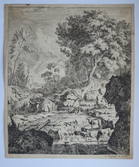 Print. A. Meyering. Italian landscape with Pan and Syrinx.