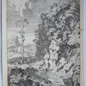 Print. A. Meyering. Italian landscape with waterfall.