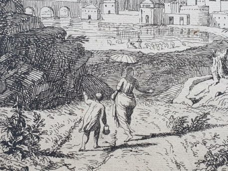 Print. A. Meyering. Landscape with a woman with a parasol.