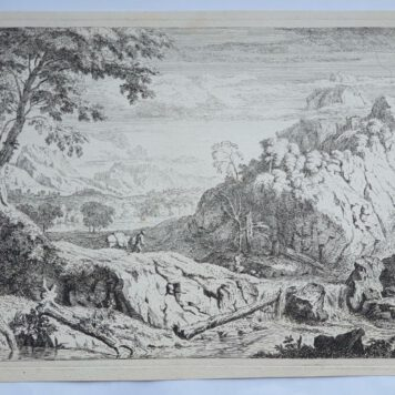 Print./Prent. A. Meyering. Landscape with hunter.