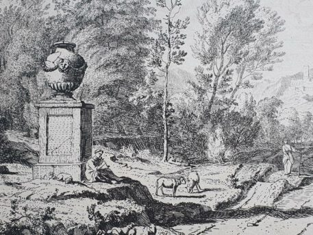 Print. A. Meyering. Italian landscape with a shepherd playing the flute near a monument.