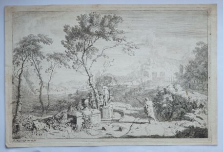 Print. A. Meyering. Italian landscape with a statue.